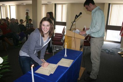 Students inducted into Phi Theta Kappa