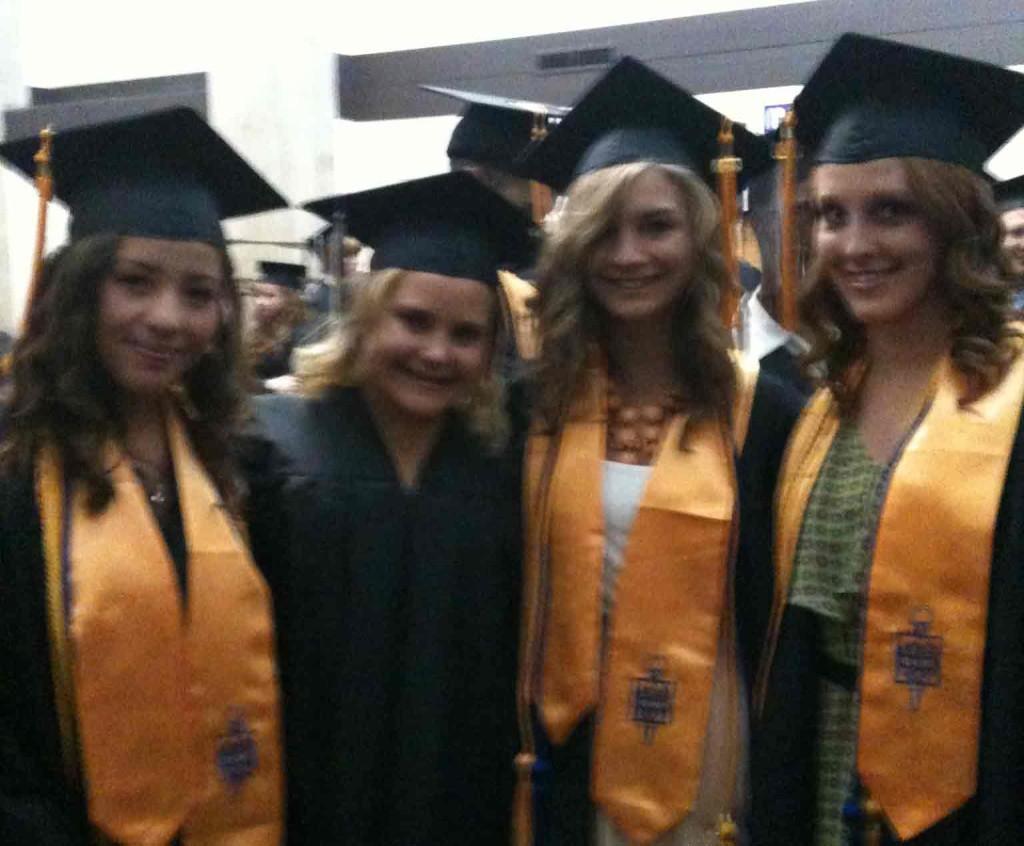 Ashley+Gonzalez%2C+Kailey+Pakenham%2C+Alex+Konczak+and+Nora+Burch+prepare+for+graduation+May+18.