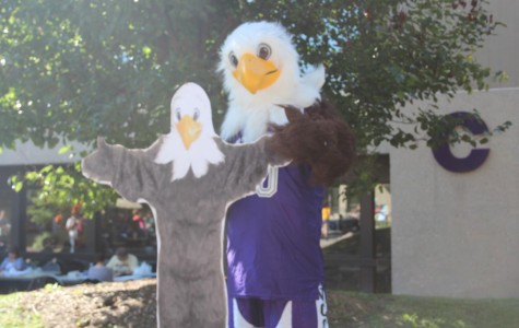 Spirit day pictures with Spirit the Eagle
