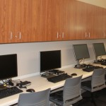 These computers are featured in the student development commons to encourage connectivity with other colleges.