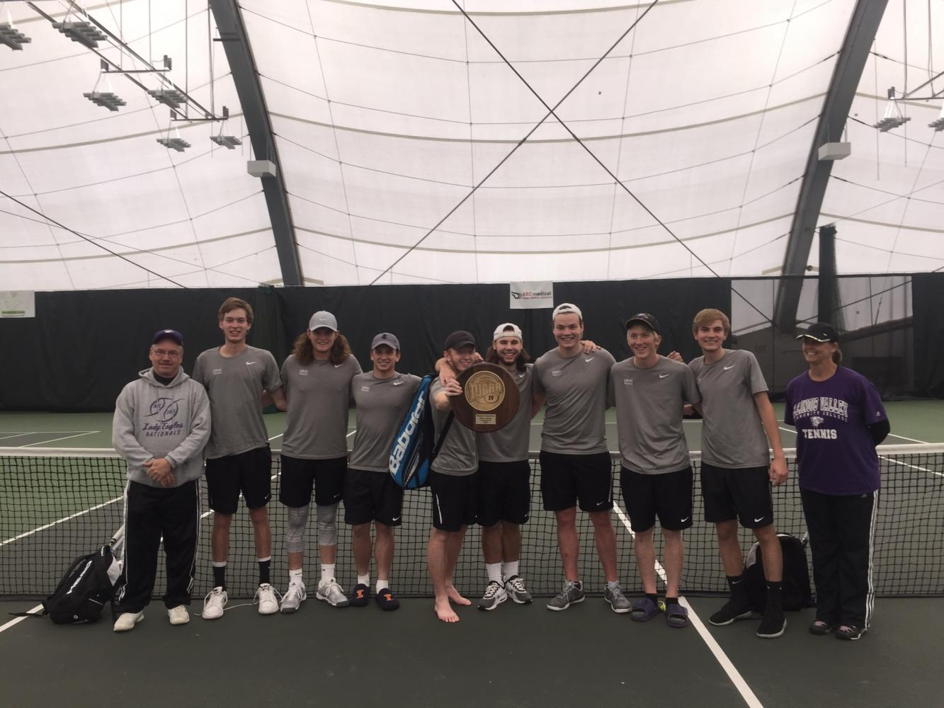 IVCC Tennis Team poses with their hardware after a Regional victory.