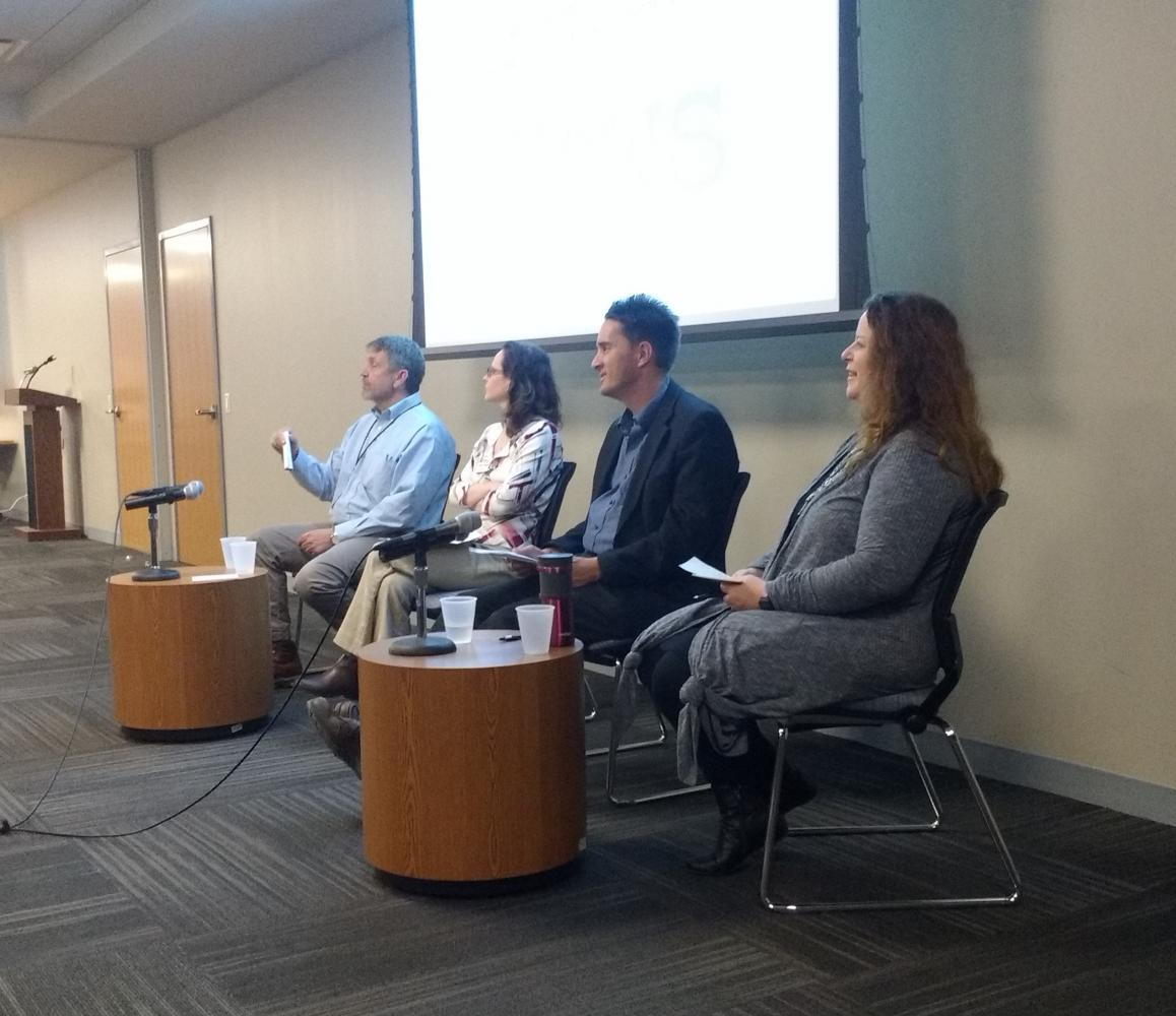 Left to right: journalists Jeff Dankert, Jenna Dooley and David Giuliani give news perspectives with Amanda Cook Fesperman moderating at the final Noise vs. News event.