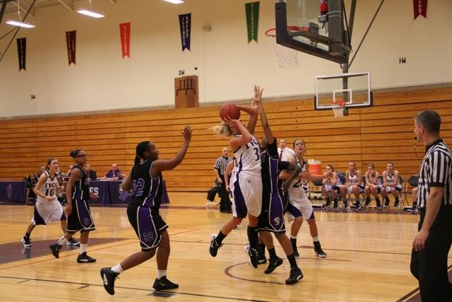 Sheila Klieber (3) drives to the basket for two points against Joliet Junior College on Nov. 22. IVLeader photo