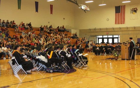 IVCC president Jerry Corcoran address new students at convocation.