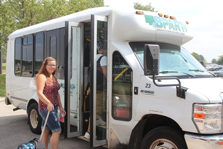 Kayla Bolin prepares to board the BPART bus on the IVCC campus.