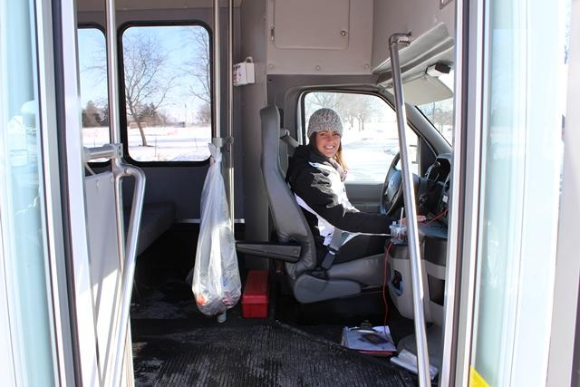 IVCC Counselor Renee Prine drives the seasonal shuttle Jan. 23 for students looking to stay warm while making their way onto campus. The college is considering guidelines on how or when to use the shuttle in the future.