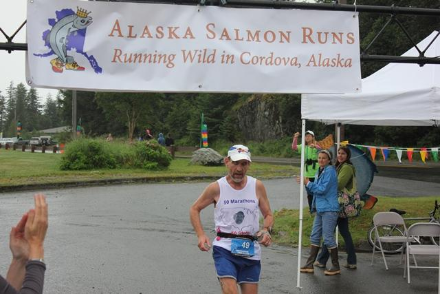 Rick Mangold, IVCC psychology professor, competes in a marathon in Cordova, Alaska. Mangold has run in all 50 states.