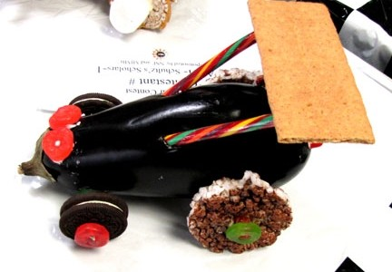The fastest car in the contest was made from an eggplant and entered by IVCC math students.