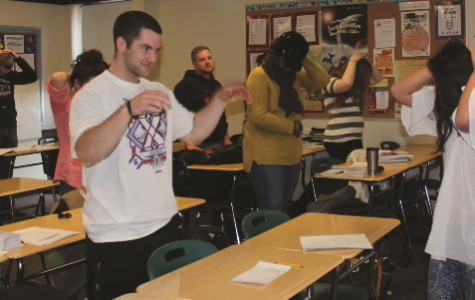 Students get up and active for an Education Psych presentation on bullying in instructor Jill Urban-Bollis' class.