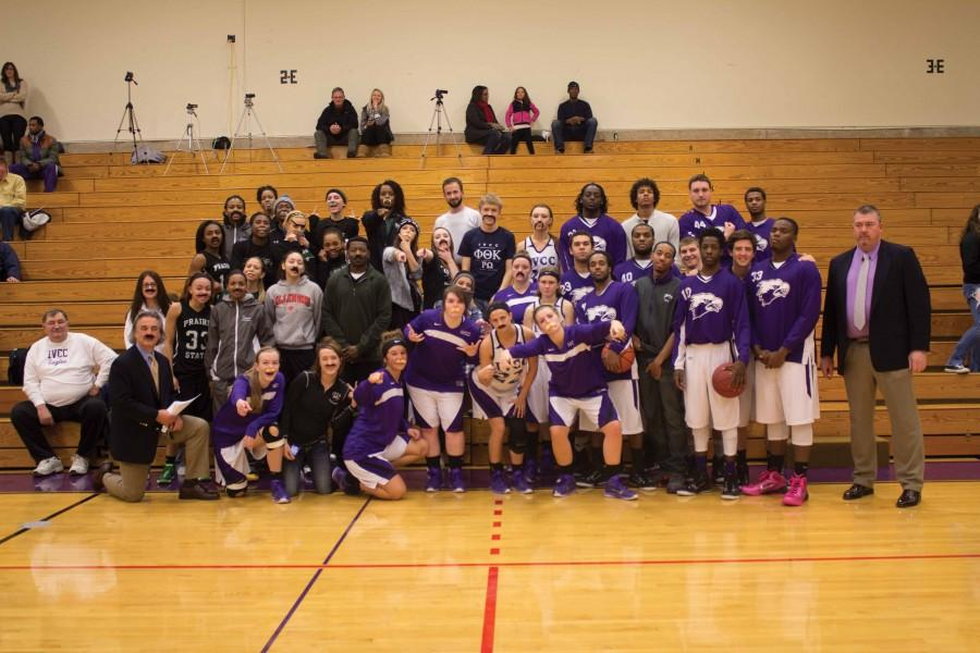 Members+of+the+IVCC+and+Prairie+State+College%27s+men%27s+and+women%27s+basketball+teams+pose+with+Phi+Theta+Kappa+wearing+mustaches+for+Movember+support.