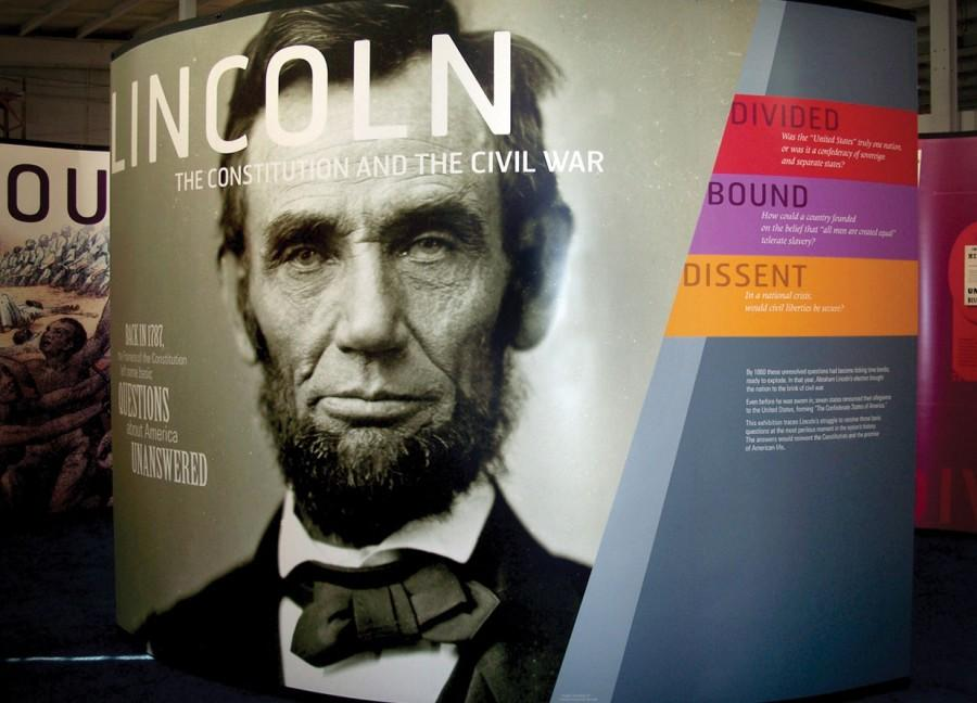 The travelling Lincoln exhibit, sponsored by the National Constitution Center and the American Library Association, will call IVCC its home from March 24 to May 1. To the left is just one of many colorful displays depicting the president's life story and accomplishments. The interactive exhibit is organized into six areas, highlighting his career, the Civil War, and the Gettysburg Address.