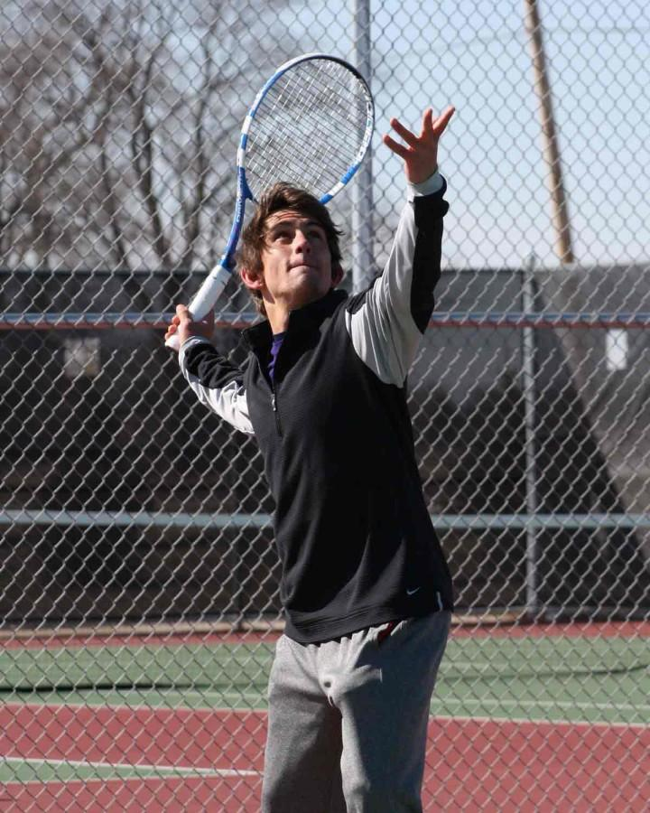 IVCC+men%E2%80%99s+tennis+player+Zach+Giovanine+warms+up+at+the+LP%E2%80%88sports+complex+before+a+match.