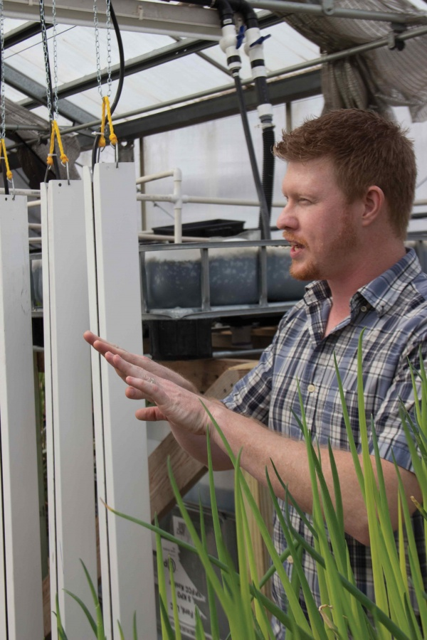 IVCC+professor+Jared+Olesen+explains+the+dynamics+of+the+aquaponics+system+assembled+in+the+greenhouse+on+campus.+Olesen%2C+who+teaches+sociology+classes+on+campus%2C+is+not+only+in+charge+of+the+greenhouse%2C+but+also+leads+the+college%E2%80%99s+sustainability+team.+Displayed+behind+Olesen+are+the+chambers+that+allow+plants+to+grow+horizontally+while+suspended+above+the+ground.+The+aquaponics+system+will+utilize+nutrients+provided+through+a+system+composed+of+fish+and+plants+that+circulate+and+recycle+nutrients+in+order+to+sustain+plants.+The+IVCC+greenhouse+is+currently+growing+onion+stalks+%28bottom+right%29+using+materials+which+mimic+a+natural+environment.+Olesen+encourages+students+to+visit+the+greenhouse+and+see+the+system+first+hand%2C+and+get+involved+with+sustainability+efforts+on+campus.