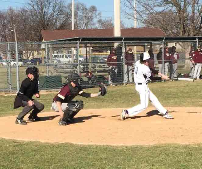 VCCmen's baseball player Ethan Ringle swings at a pitch during the Eagle's game vs Robert Morris JV on March 28. The Eagles would win both games scoring a total of 23 runs in an offensive explosion.