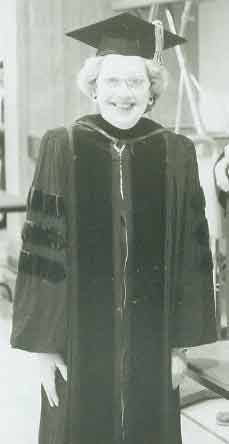 Mary Weeg, LP, L-P-O, andIVCC instructor, is captured smiling with that iconic twinkle in her eye at an IVCCcommencement ceremony in the late 1980s. Weeg was the first female faculty member of L-P-O Junior college to hold a Ph.D., a highlight of countless honors she earned.