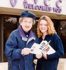 Mary Weeg (left) is pictured with a student at IVCC homecoming in 1999, the college's 75th anniversary.