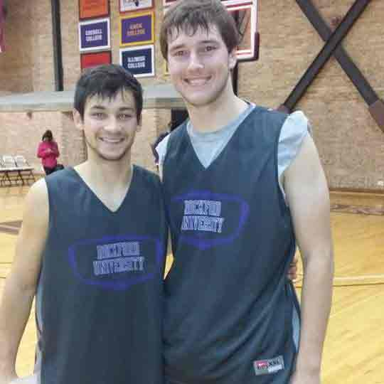 Former IVCC teammates Ross Arteaga (left) and Trae Blumhorst play on together for Rockford University.