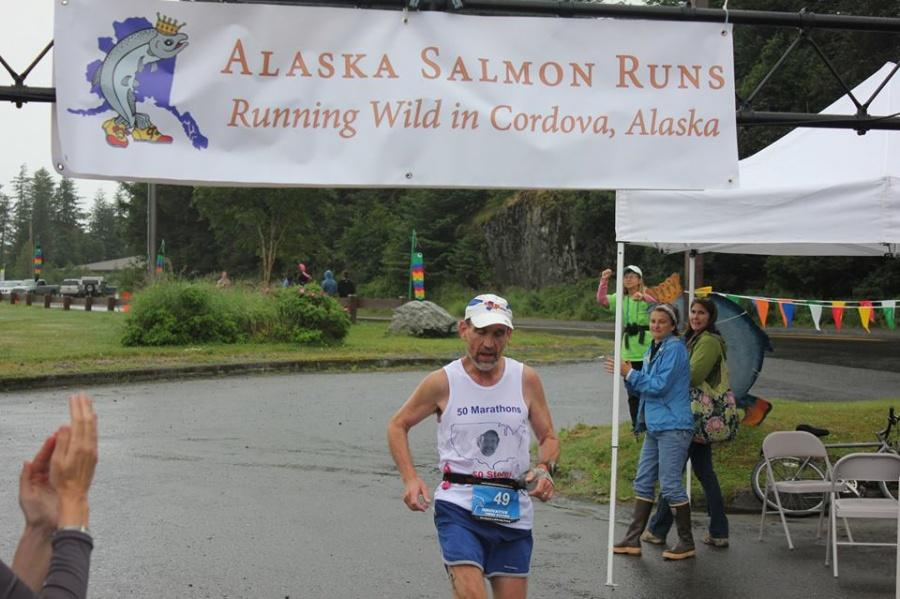 Rick Mangold, IVCC psychology professor and running club advisor, finishes his 50th state race in Alaska. Mangold uses running as a form of stress relief in his daily routine. IVCC students interested in the running club are encouraged to contact Mangold to join.