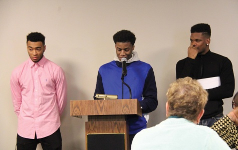 Basketball players (L-R) Jalen Latham, troy Johnson, Ricky Calvin took turns telling their stories at the Inspired By the Dream event.