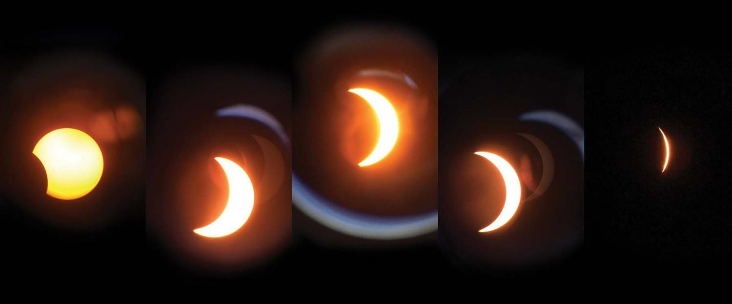 Capturing: the sun  Mike Phillips, Geology Instructor, captures a phenomenal second-by-second image of the solar eclipse on Aug. 21.