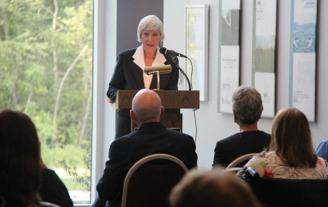 Dr. Rose Marie Lynch speaks to a large audience of people as they remembered the late Dr. Mary Margaret Weeg during the ceremony to name the Cultural Centre  after Weeg