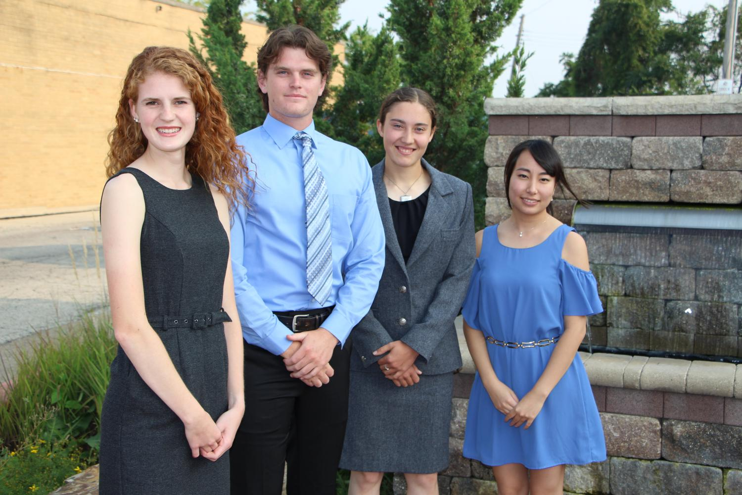 21st Century Scholars Society finalists include Brianna Legner, left, Nick Needs, Martha Hoffman and 21st Century Scholar Akari Oya. Legner, Needs and Hoffman received $1,500 each and Oya received $3,000. Ten other students were chosen to receive $6,750 from the Society.