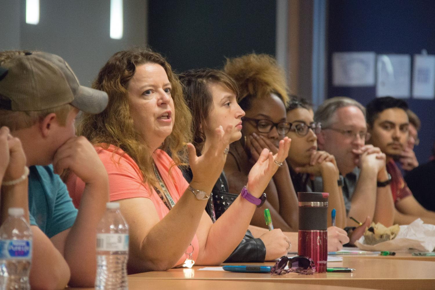 A large group attended the brown bag lunch discussion to reflect on the Aug. Charlottesville riots.