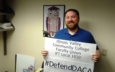 Show of Support: Adam Oldaker, English instructor, and several members of IFT Local 1810 shared pictures on social media to show support for DACA.
