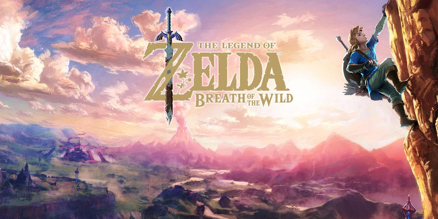 This photo presents the primary packaging artwork used by Nintendo for Zelda: Breath of the Wild. It depicts Link overlooking Hyrule's landscape.