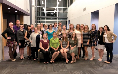 Welcome to Rho Omega  PTK officers, advisors, and new inductees pose Oct. 10 after fall induction ceremony