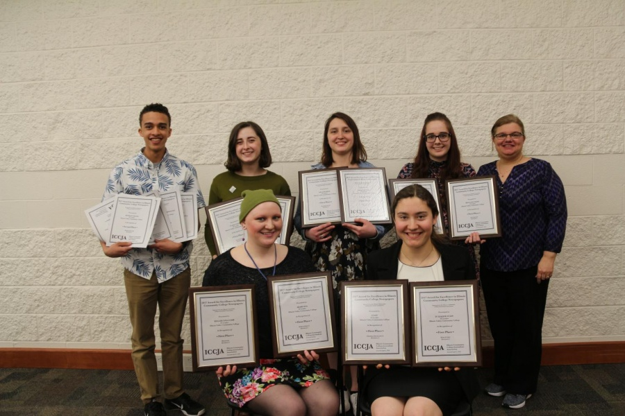 IV Leader staff attended the Illinois Community College Journalism Association spring conference and accepted awards. Back row: Noah Currie, Summer Hoagland-Abernathy, Rachel Einhaus, Alexandria Bennett, and adviser Lori Cinotte. Front row: Kellsie Edgcomb and Martha Hoffman.