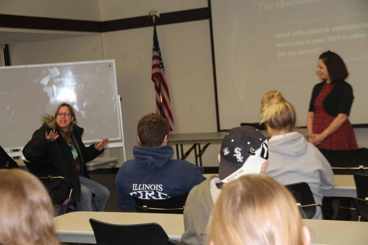 A student gives her experiences as a woman at IVCC during English instructor Nora Villarreal's presentation.
