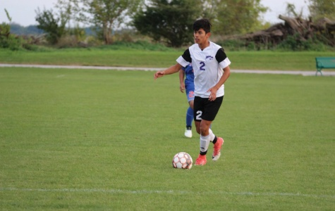 Oscar Pizano looks for a pass down the pitch. The Eagles ended up winning this match over Milwaukee Area Technical College by a score of 3-1. That was their first and only win of the season.