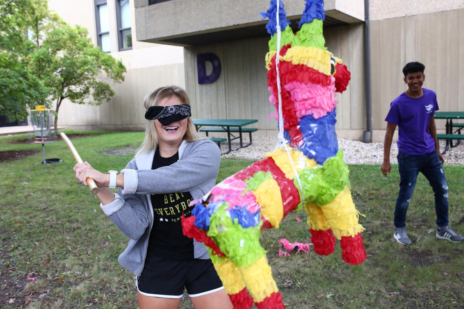 Students enjoy activities at the Hispanic Leadership Team table during Spirit Day on Sept. 11.