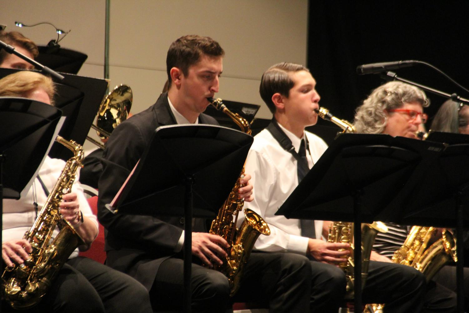 Jazz band members perform at their concert on October 8, 2019