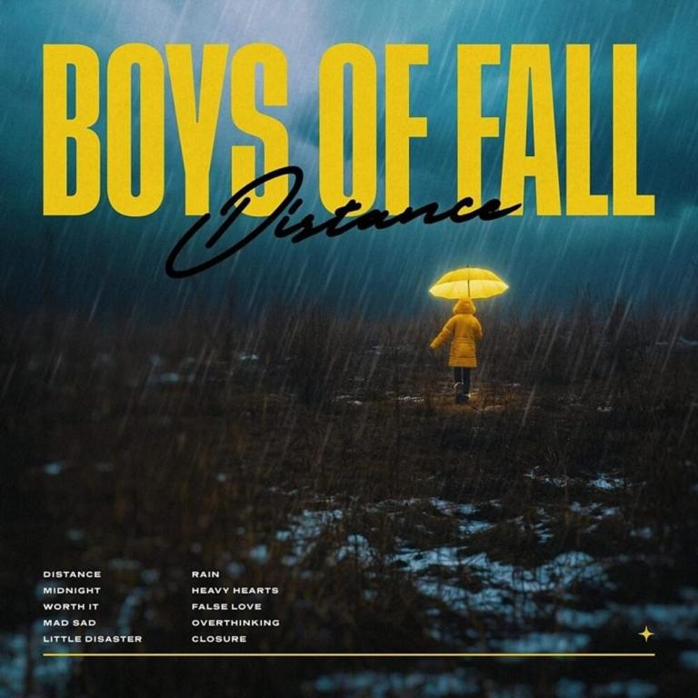 The album art for Boys of Fall's newest album, Distance